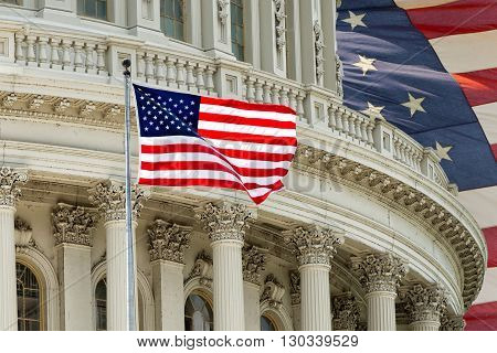 Washington Dc Capitol Detail With American Flag