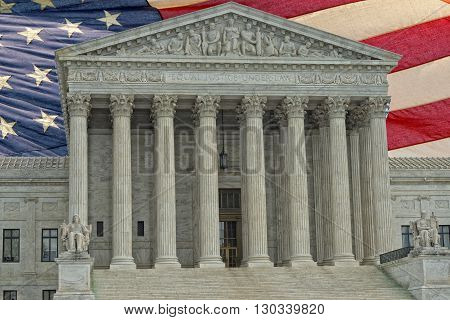 Washington Dc Supreme Court Facade On American Flag Backgound