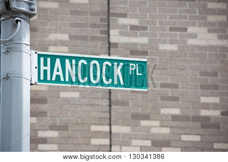 New York Street Sign: Hancock Pl