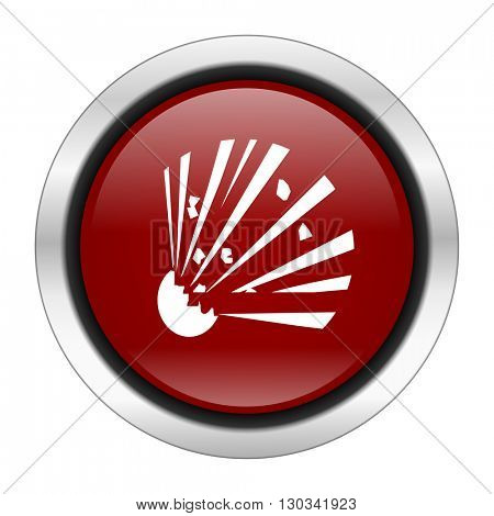 bomb icon, red round button isolated on white background, web design illustration