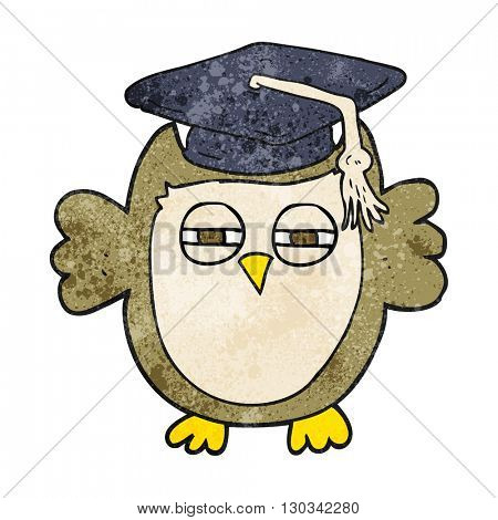 freehand textured cartoon clever owl