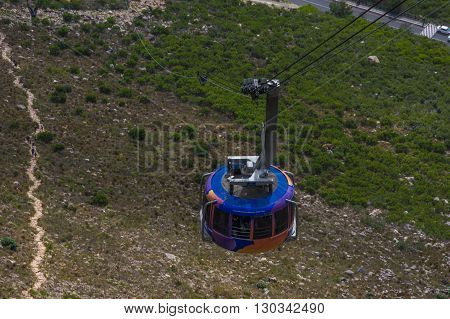 Cape Town South Africa March 21 2016  The cable car traverse's  to the top of the famous Table Mountain