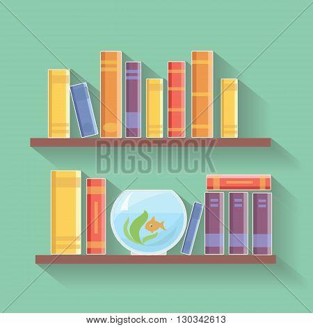 Home library flat illustration. Bookshelves with books, Education illustration vector