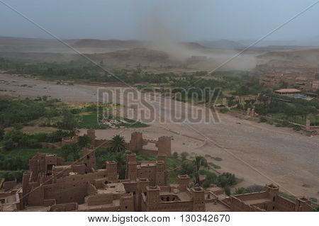 A Sand Storm Coming To Ait Benhaddou Maroc Location Of Gladiator Movie