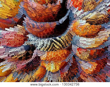 Close up of colorful african wooden bowls