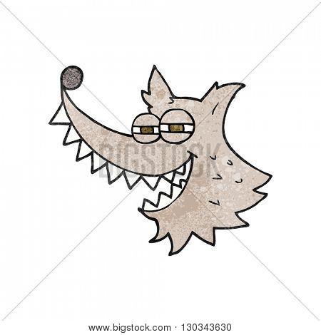 freehand textured cartoon crazy wolf