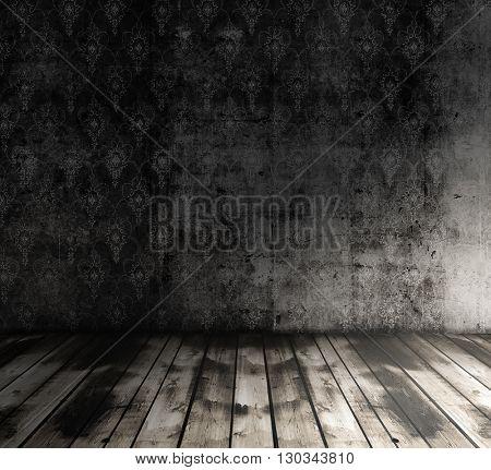 old grunge room with wallpaper, vintage background