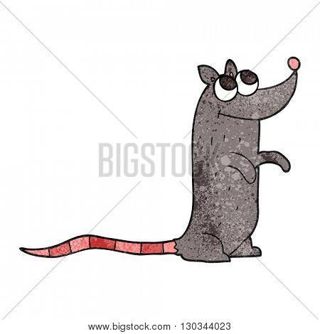 freehand textured cartoon rat