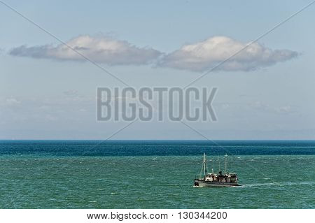 Old Ship In Baja California Sea In La Paz