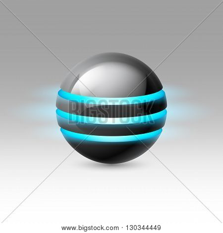 Black smooth ball of the future with blue luminescent bands