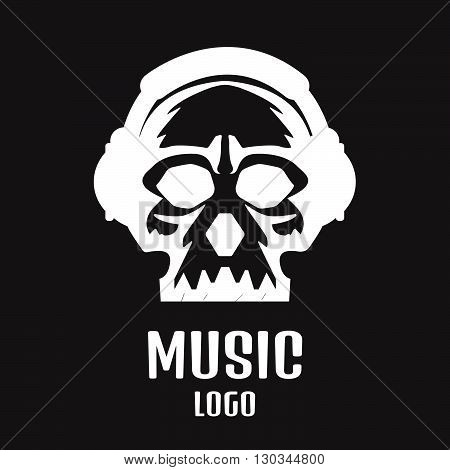 Sound Studio Logo. Music Skull Logo