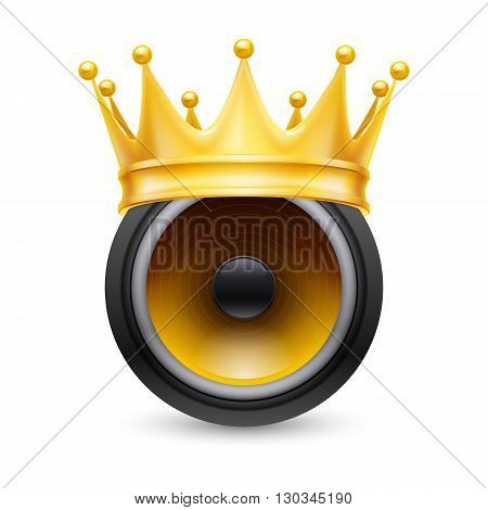 Gold crown on a musical dynamics isolated on white background