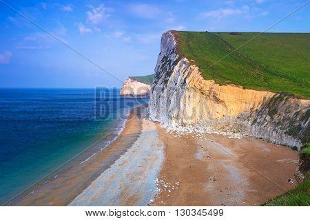 White cliffs on the Jurassic Coast of Dorset, UK