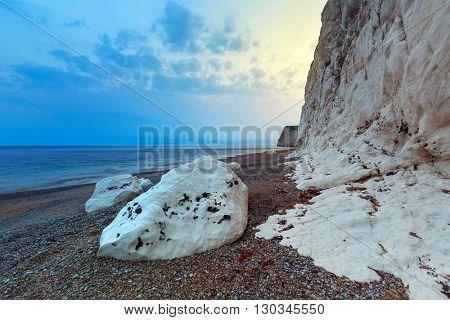 White cliffs on the Jurassic Coast of Dorset at sunset, UK