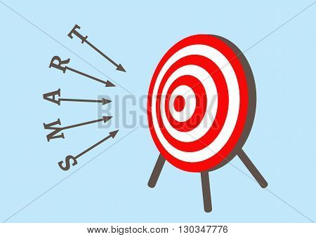 smart dart run to goals target in bullseye, Goal target success business investment financial strategy education concept