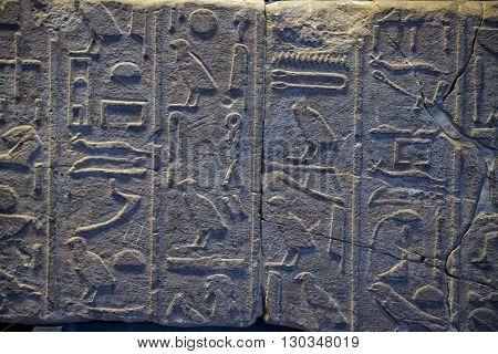 Luxor Egypt Hyerogliphs detail view close up