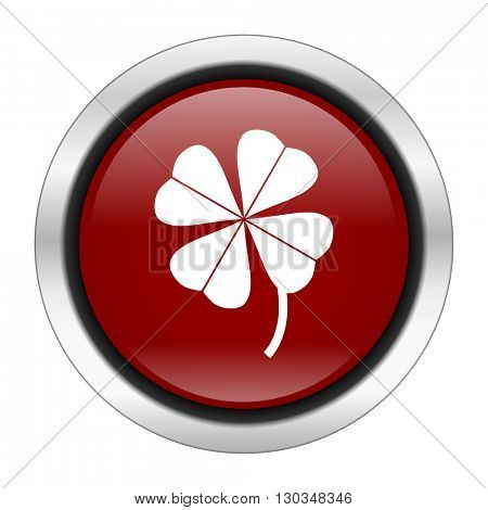 four-leaf clover icon, red round button isolated on white background, web design illustration