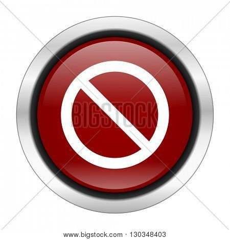 access denied icon, red round button isolated on white background, web design illustration