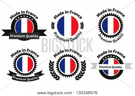 Made in Franse badges set. Stock vector. Vector illustration.
