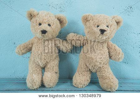 teddy bear adventures in love, selective focus