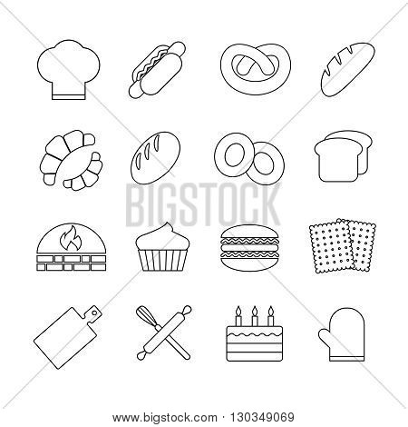 Bread and bakery vector outline linear icons set. Bakery food, bread food, pastry croissant food, dessert food illustration