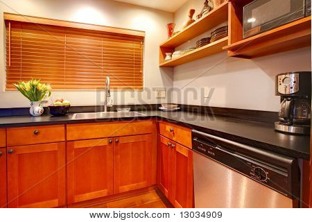 Modern Cherry Luxury Kitchen With Black Ans Stain Steal.