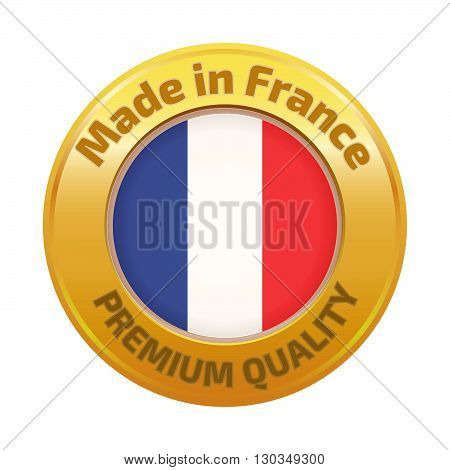 Made in France badge gold. Stock vector. Vector illustration.