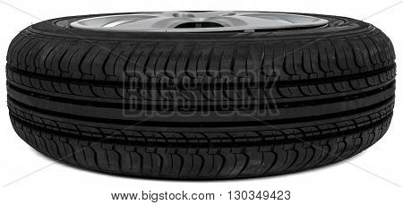 Car tire, isolated on white background. Perspective view