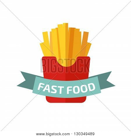 french fries logo. Stock vector. Vector illustration.