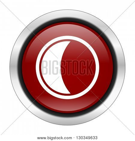 moon icon, red round button isolated on white background, web design illustration