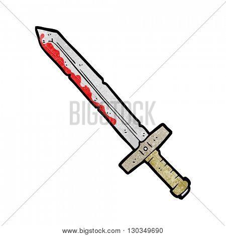 freehand textured cartoon bloody sword