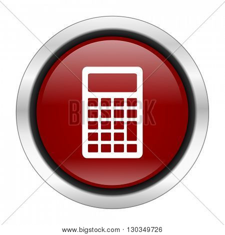 calculator icon, red round button isolated on white background, web design illustration