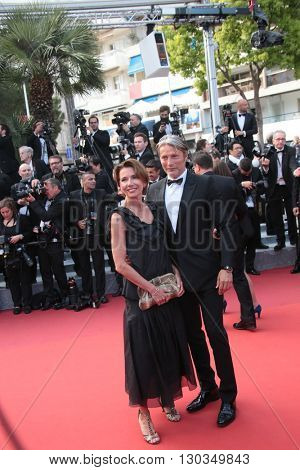 Hanne Jacobsen and Jury Member Mads Mikkelsen  attends 'The Unknown Girl (La Fille Inconnue)' Premiere duirng the annual 69th Cannes Film Festival at Palais on May 18, 2016 in Cannes, France.