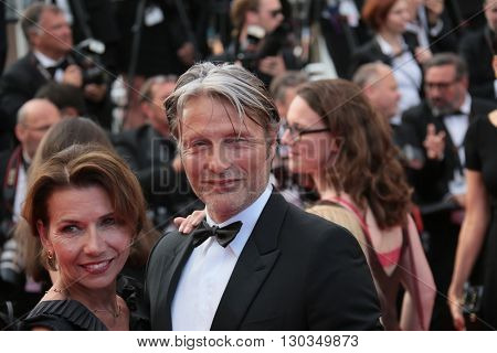 Hanne Jacobsen and Jury Member Mads Mikkelsen attend 'The Unknown Girl (La Fille Inconnue)' Premiere duirng the annual 69th Cannes Festival at Palais des Festivals on May 18, 2016 in Cannes, France.