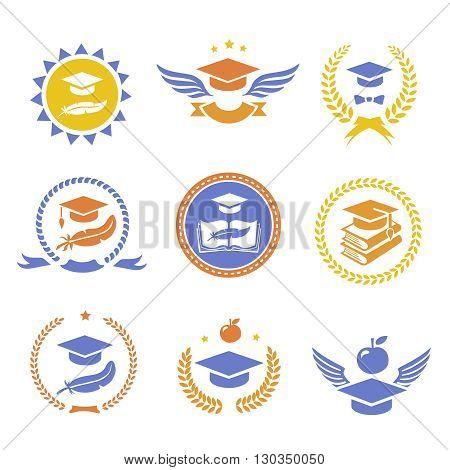 Graduation student cap sign labels. Education book symbol.