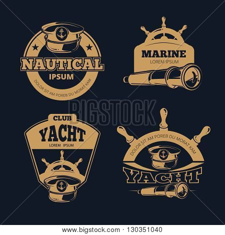 Retro nautical color vector labels on dark background. Vintage, nautical label, nautical yacht emblem, nautical badge yacht illustration