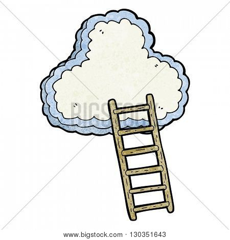 freehand textured cartoon ladder to heaven