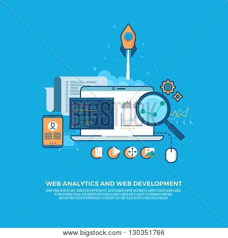 Web analytics information and website development flat concept background.  Analytics internet technology, development optimization, information analytics data, seo analytics. Vector illustration