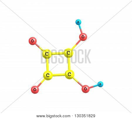 Squaric acid - quadratic acid - carbon atoms approximately form a square is an organic compound with chemical formula C4H2O4. 3d illustration