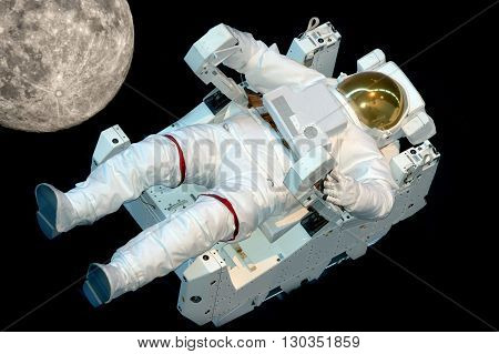 Astronaut Isolated While Floating On Black
