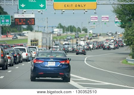 Washington, Usa June, 22 2015 Congested Highway