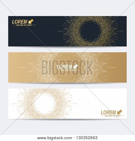 Modern set of vector banners. Molecule and communication background. Geometric abstract round  golden forms. Connected line with dots. Graphic composition for medicine, science, technology , chemistry.