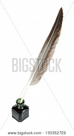 Feather pen in the inkwell isolated on a white background