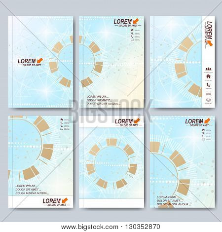 Modern vector templates for brochure, Leaflet, flyer, cover, magazine or annual report in A4 size. Business, science, medicine and technology design book layout. Abstract tecnology presentation.