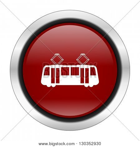 tram icon, red round button isolated on white background, web design illustration