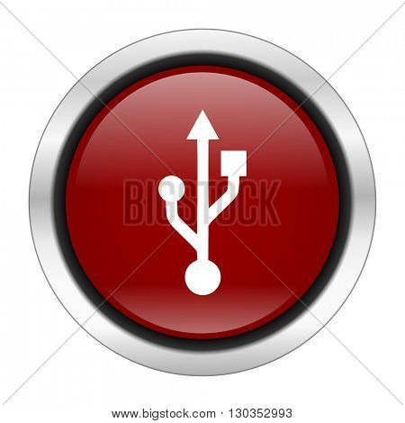usb icon, red round button isolated on white background, web design illustration
