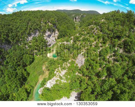 Aerial view of beautiful nature in Plitvice lake, Croatia