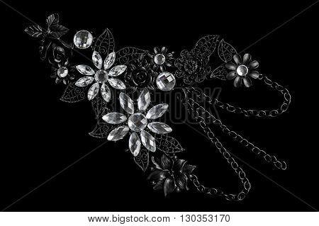 necklace  black metal gemstone flower accessories jewelery