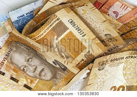Scrambled South African Rand Bank Notes Close Up