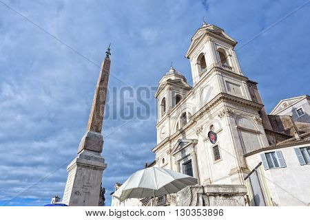 Rome Trinita Dei Monti Church And Obelisk View